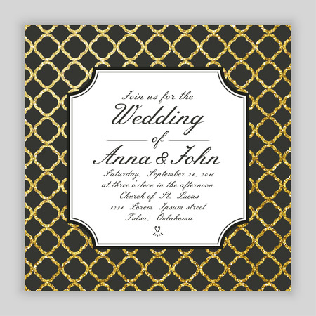 Wedding invitation template . Gold glitter background. Vector illustration