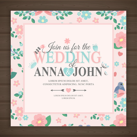 cute wedding invitation card, vector illustration. save the date Иллюстрация