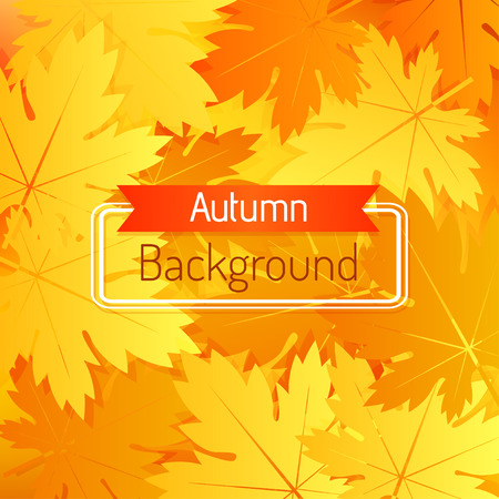 Bright autumn background with leaves. Vector illustration