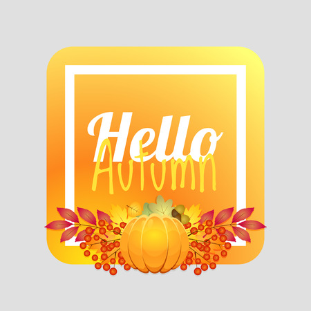 Hello autumn. Autumn card, autumn background. Autumn design Vector illustration Иллюстрация