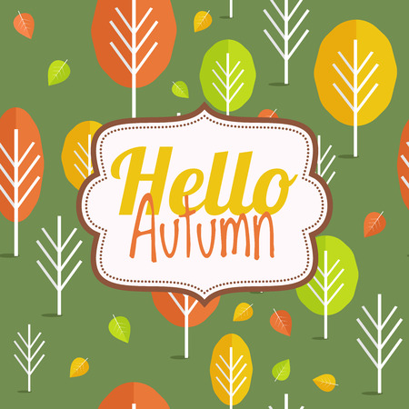 Hello autumn. Autumn card. Vector design with autumn trees.