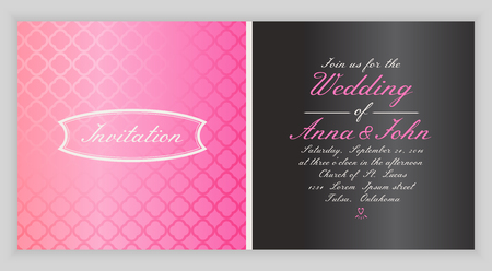 Invitation card with pink background, back and front. Vector illustration