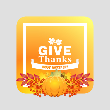 Happy thanksgiving card. Autumn card, autumn background. Vector illustration