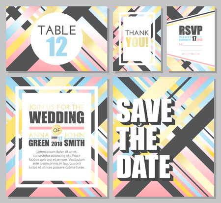 Wedding set. Wedding invitation, thank you card, save the date, RSVP. Vector illustration