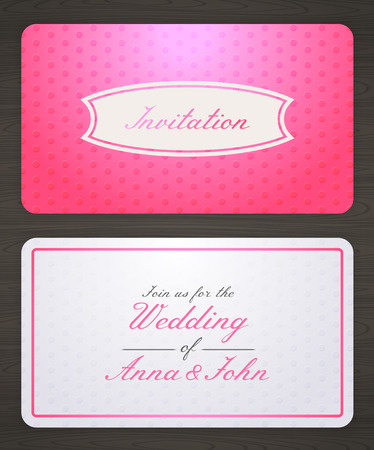 Wedding invitation card with pink background, back and front. Illustration