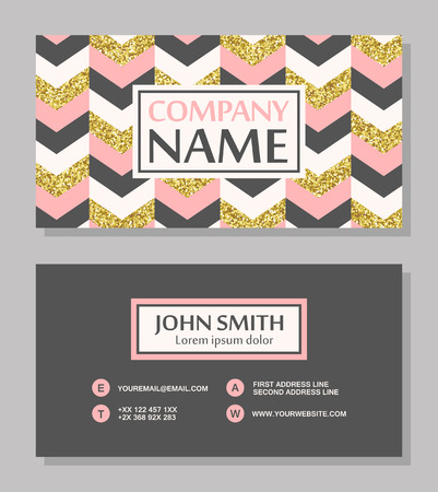 Business card with gold glitter chevron background. Abstract business card design. Vector illustration Иллюстрация