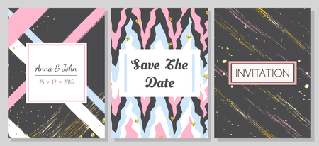 Set of romantic abstract cards. Vector collection of three cards. Wedding invitation, anniversary, birthday, party etc. Vector illustration