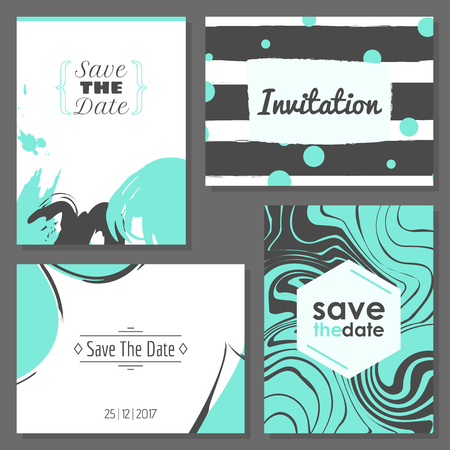 Set of romantic abstract cards. Vector collection of four cards. Wedding invitation, anniversary, birthday, party etc. Vector illustration