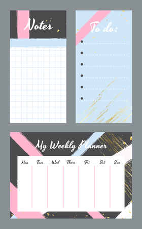 Weekly planner template. Organizer and schedule with notes and to do list. Vector illustration
