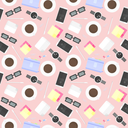 Pattern with school and office supplies. Vector background