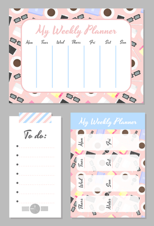 Weekly planner template. Organizer and schedule with place for notes and to do list. Schedule with bright cute background. Vector illustration
