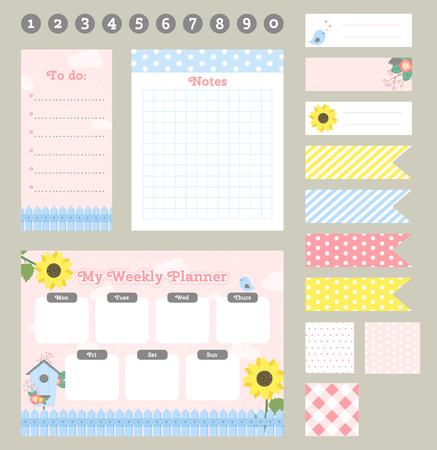 Weekly planner template. Organizer and schedule with notes and to do list. Template for notebooks, scrapbooking, wrapping, invitation, cards, diary. Иллюстрация