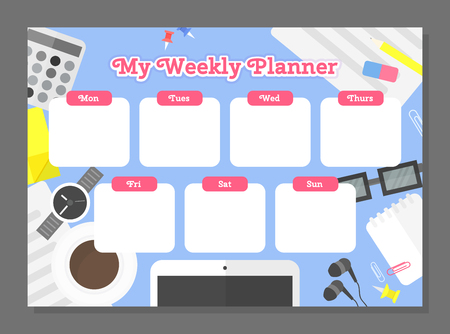 Weekly planner template. Schedule with bright office background. Vector illustration Иллюстрация