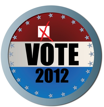Vote 2012 Web Button with X Stock Vector - 12497686