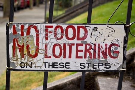 loitering: No food or loitering sign in Portland Oregon Stock Photo