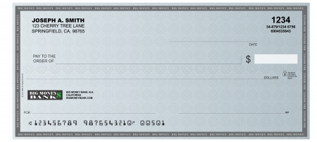 blank check: A realistic representation of a blank check