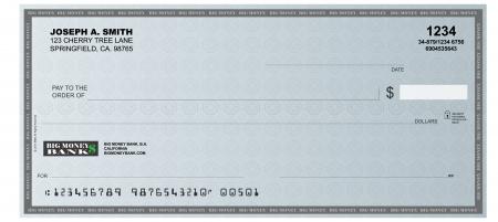 cheque en blanco: Una representación realista de un cheque en blanco