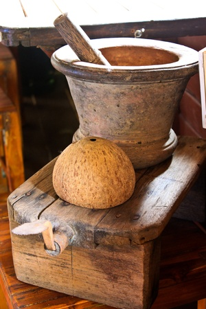 Mortar, Coconut grater and Coconut shell