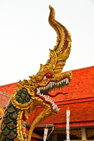 Naga in the temple the north of Thailand photo