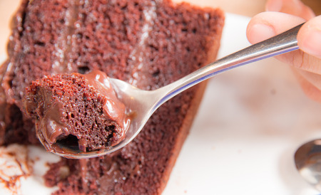 chocolate cake in plate with spoon