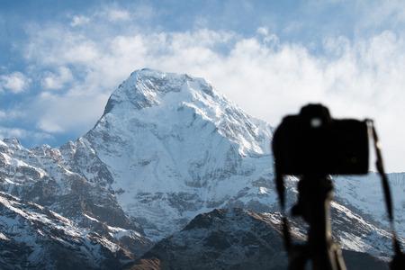 Annapurna view behind the blur camera