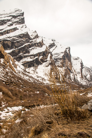 View on the way to the Annapurna Base Camp Area in Nepal Stock Photo