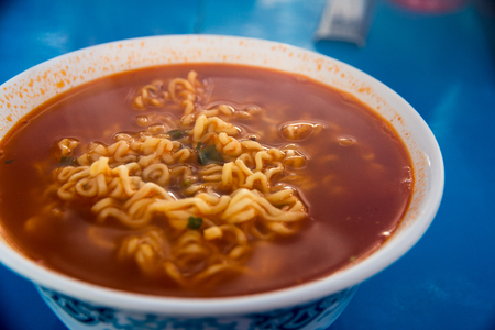 Korea noodle is hot and spicy.