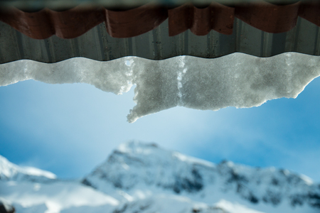 Glacier on the roof, a front of high mountain. Stock Photo
