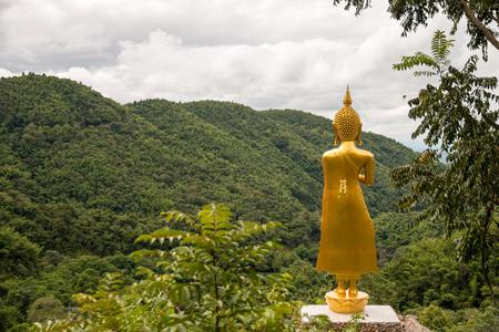 Behind the golden buddha.