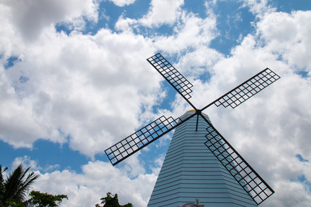The windmill with blue sky in Phrae province, Thailand. Stock Photo