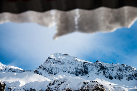 Blur glacier on the roof, a front of high mountain.