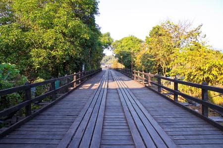 Wooden bridge in Sangkhlaburi, Thailand.