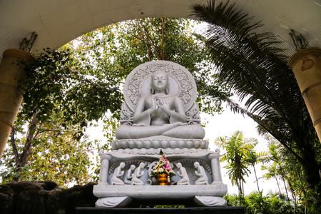 White marble buddha in Wat Phare tam ma ram (Tam ma ram temple), Phrae, Thailand. Stock Photo