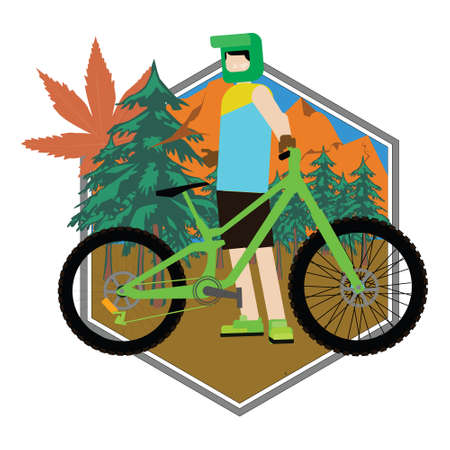llustration vector graphic of man with downhill bikes