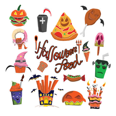 vector pattern of helloween food colorfull