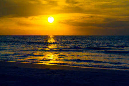 Sunset in Cartagena de Indias Colombia. Playa Azul la Boquilla, Bioseguras Beach of Colombia