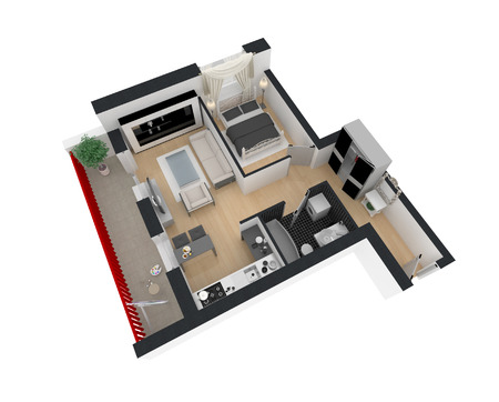3d render of furnished home apartment 스톡 콘텐츠
