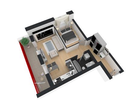 3d render of furnished home apartment Banque d'images