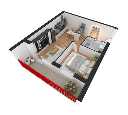 3d übertragen von der brennenden Wohnung Standard-Bild - 92502684