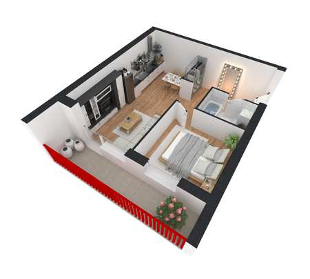 3d render of furnished home apartment Stockfoto