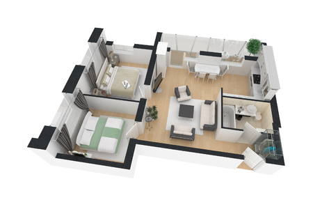 3d render of furnished home apartment Фото со стока