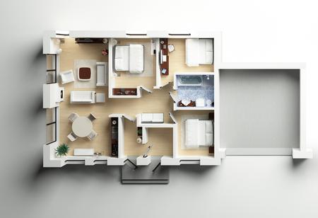차고와 집 코 티 지 3d 계획 스톡 콘텐츠