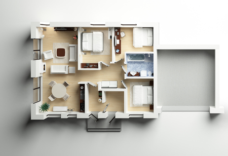 House cottage with garage 3d plan
