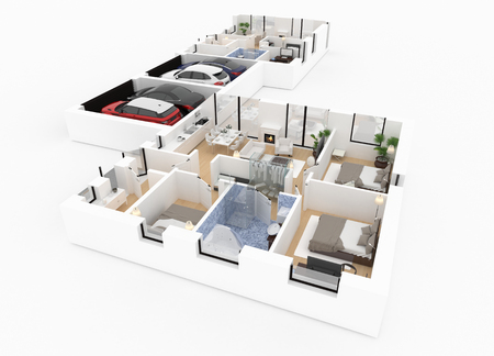 3d plan of furnished home apartment 스톡 콘텐츠
