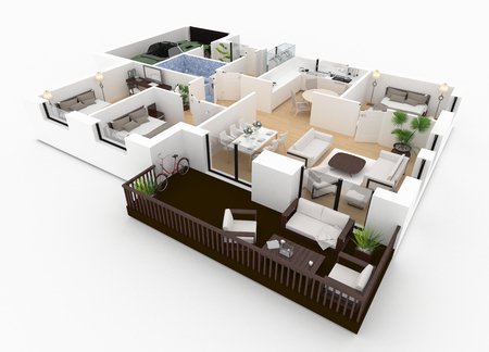 3d render of furnished home apartment Stock Photo