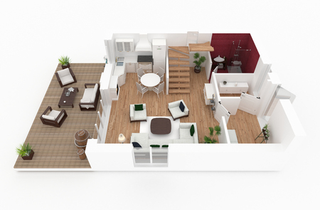 1 floor of furnished house apartment loft 스톡 콘텐츠