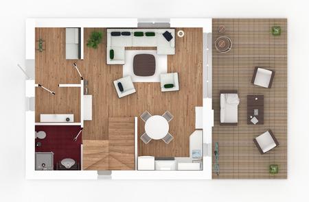 1 floor of furnished house apartment loft Stock fotó