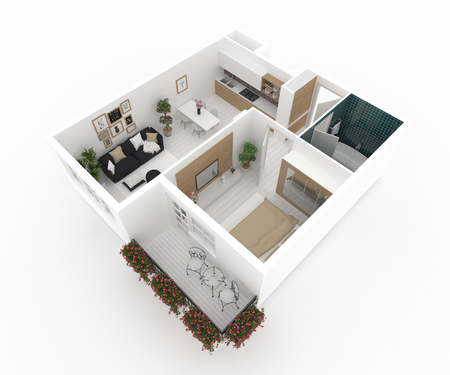 Furnished home apartment 3d illustration