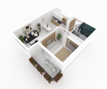 Furnished home apartment 3d illustration