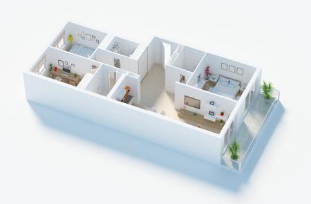 Furnished home apartment 3d render